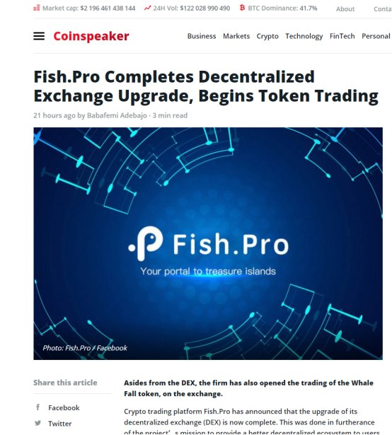 Publish0x:Fish.Pro DEX携手鲸落回归